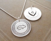 Personalized Hippo Mother and Baby Necklace, Heart Monogram, Fine Silver, Sterling Silver Chain, Made To Order