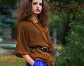Loose Jacket Brown Linen Sweater Kimono Top  Women Cardigan Blazer Linen  Mustard Brown For Women, Custom Size and Color