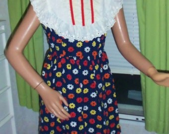 60s Flower Child Mod/Hippie Mini Dress XS