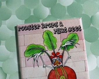 Phat Beet Magnet hip hop rapper drops a phat beet vegetable pun boombox street music 2x3