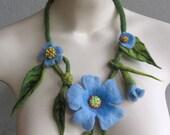 Blue flower necklace hand felted blue flowers felt necklace