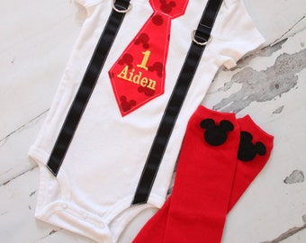 Mickey Mouse Birthday Tie and Suspenders One Piece Bodysuit & Leg Warmers w Mickey Buttons Baby Boy 1st Birthday Outfit Party Disney Style