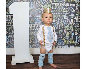 Baby Boy 1st Birthday Cake Smash Outfit. Blue Gingham Personalized Tie and Suspender Bodysuit & Leg Warmers SET Tan Navy