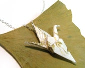 Origami Crane Ivory Gold - Sterling Silver chain Paper Crane Necklace