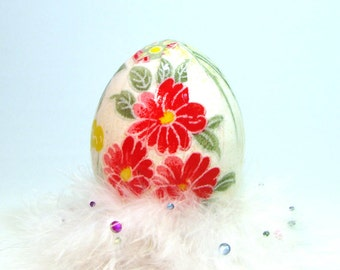 Washi Egg - Decoupage Japanese Egg with Red Flowers