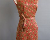1950s 1960s gold lurex flaming dots dress black red gold weave medallions polka dots fitted wiggle stretch intarsia petite medium