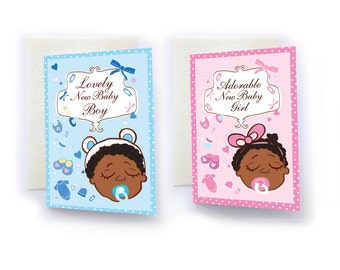 New Baby Boy or New Baby Girl, Black Baby, African American Baby, New Baby, Baby Cards, Congratulations, baby congratulations, Afro Baby