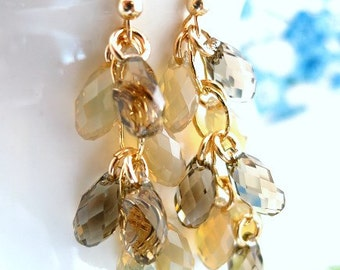 Brown fall chandelier Swarovski crystal earrings, Autumn fall cluster Swarovski crystal earrings, coachella brown sand cluster gold earrings