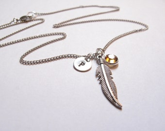 Feather Charm Necklace // Initial Necklace // Birthstone Necklace // Feather Necklace // Charm Jewlery // Personalized Necklace