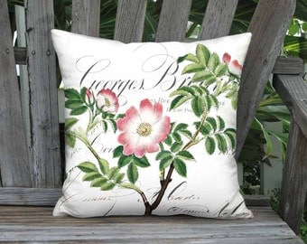 Shabby Pink Cabbage Rose Pillow Cover - Shabby Chic Pink Flower Pillow - 12x 14x 16x 18x 20x 22x 24x 26x 28x Inch Linen Rose Cushion Cover