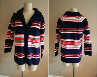 70's Thick Striped Winter Warm Button Front Striped Cardigan Sweater -  Size Medium - 80's Vintage