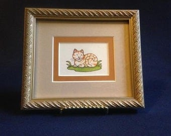 Framed Tomie dePaola orange and white cat print