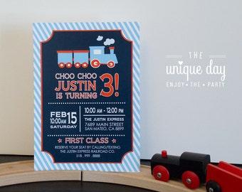 Train Invitation - Printed Invitations - Printable - Train Birthday Party - Boy Birthday - First Birthday // TRA -01