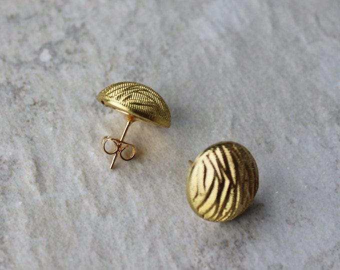 Gold Post Earrings, Gold Tone Jewelry, Costume Jewelry, Animal Jewelry, Zebra Earrings, Earring Gift