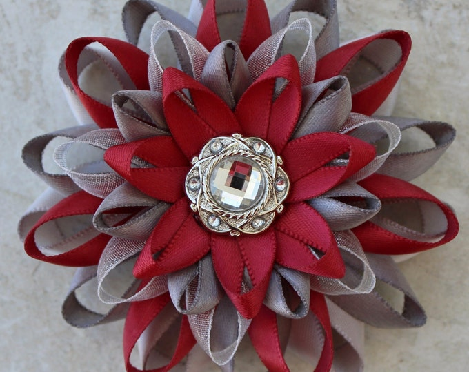 Dress Pin, Sherry Red and Silver Flower Pin, Sherry Red Corsage Pin, Sherry Flower Corsage, Pewter and Dark Red Flowers, Red Wedding Jewelry
