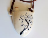 Rustic Wedding Flask, White Hip Flask, Hand Painted in Indigo Blue