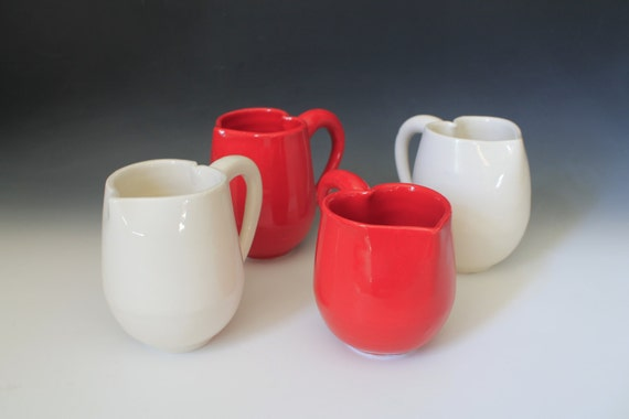 Heart Mug coffee cup, Mothers Day Love, Hand made cup, Red or White