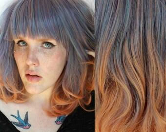 SALE Gradient wig. Long Blue wig. Dip Dye Peach wig. Long Pastel Wig. Pastel Purple wig. Curly Wavy wig // Jupiter