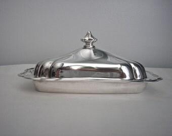Vintage Gorham Heritage Silver Plate Butter Dish
