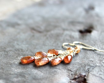 Sunstone Earrings Cascade Gemstone Earrings Sterling Silver Orange Summer Gems