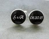 Wedding Initials Cuff Link Wedding Date Cufflinks Wedding Cufflink Wedding Cufflink for Groom Personalised Wedding Cufflinks Groom Gift
