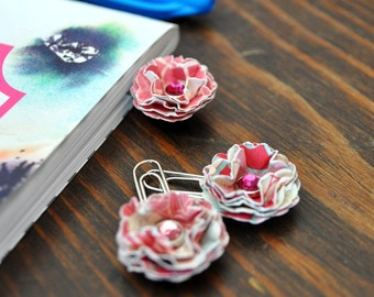 Mini Paper Flower Paperclip Bookmarks With Swarovski Crystal Elements Centers Set of 3