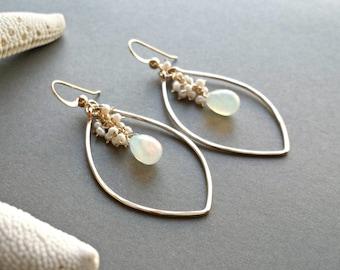 Opal Hoop Earrings, Ethiopian Opal Earrings, Pearl Cluster, Opal Pearl Chandelier, October Birthstone:  Ready to Ship