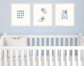 Nursery Art Navy Theme, Baby Boy Nursery Set of 3 8x10 / A4 Prints, Watercolour Illustration of Hot Air Balloon, Bunny Rabbit