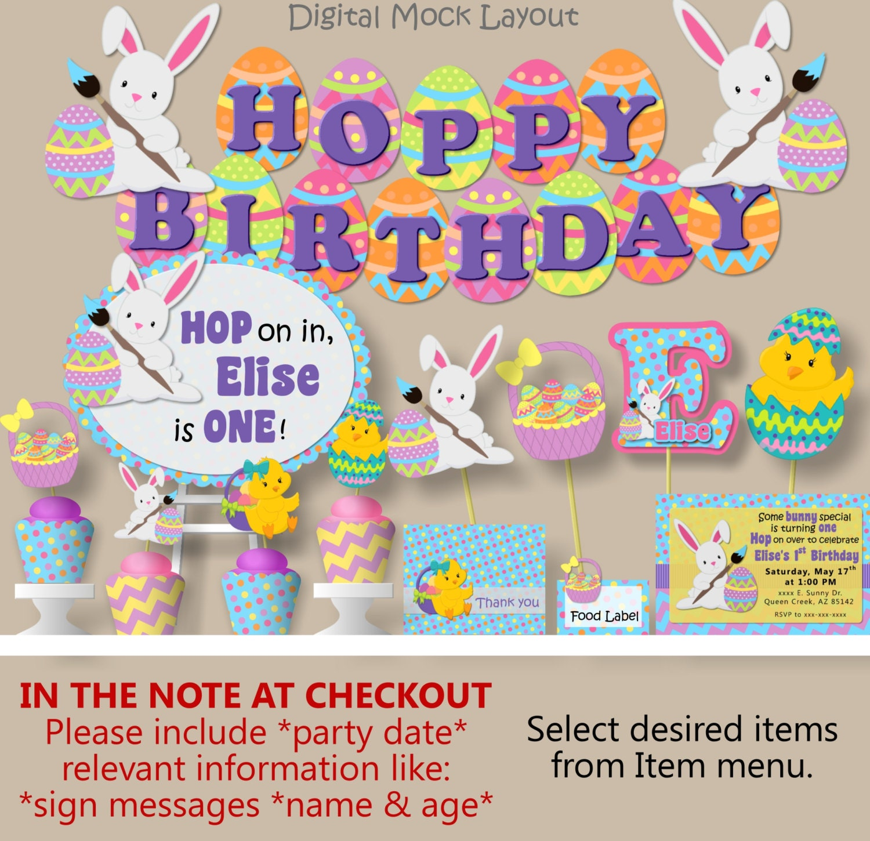 Hoppy Birthday Party or Baby Shower Decorations Bunny