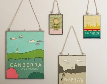 Warsaw, Poland // Modern Baby Nursery Decor, Typography Poster, City Skyline, Giclee, Illustration, American Travel Theme, Digital Print