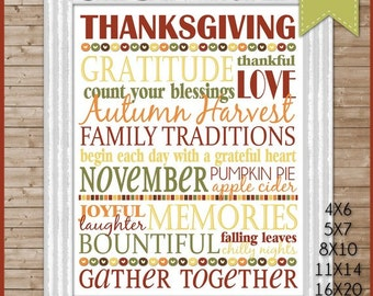 NEW Thanksgiving Subway Art, GRATITUDE November Sign - Printable Instant DOWNLOAD