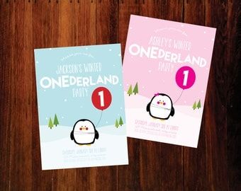 Penguin Winter ONEderland Birthday invitations - set of 12