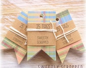 Variety Flag Tags ... Earth Colored, Vintage Inspired, Forked Flag, Pennant, Banner, Page Flags