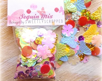 BUTTERFLY and Flower Sequin and Bead Mix .... Variety, Colorful, Cheerful, Spring, Summer, Scrapbooking, Crafts