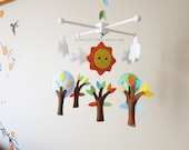 Happy Day Baby Mobile - Baby Crib Mobile - Wood Hanger Decorative Nursery mobile - trees and clouds mobile - Happy Sun mobile