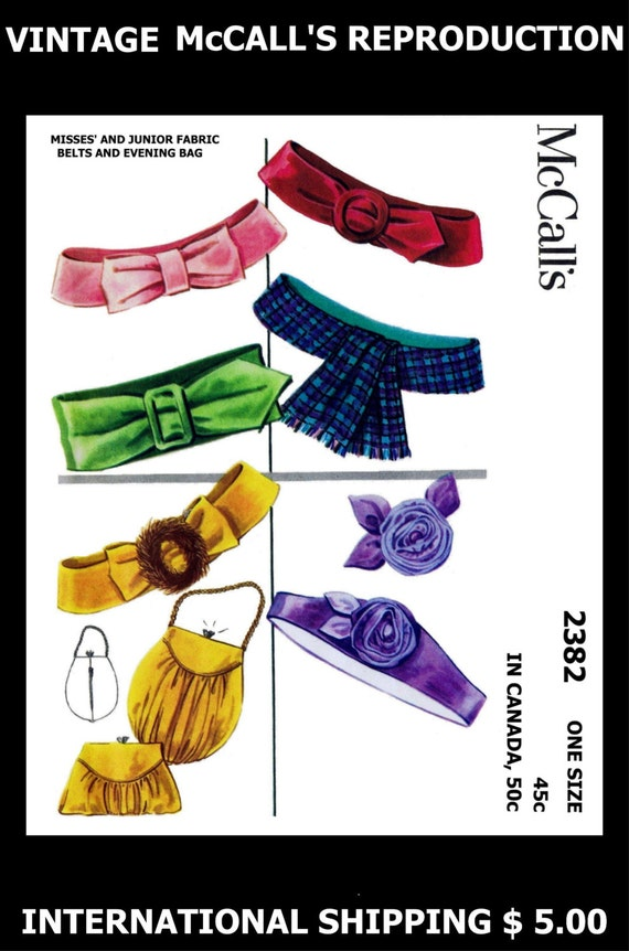 Vintage McCall's # 2382 Womens 1950s BELTS & EVENING BAG Fabric Pattern