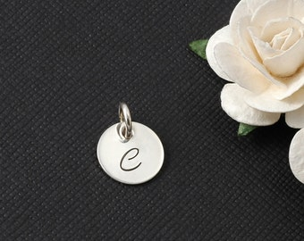 11mm initial charm, sterling silver