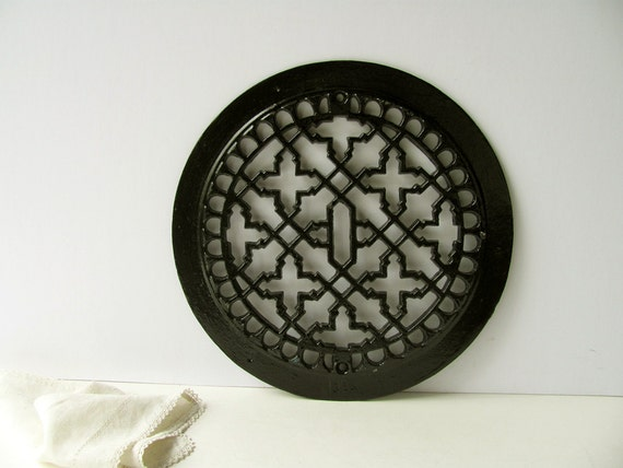Vintage Round Heat Floor Grate Register Cover Vent Cast Iron