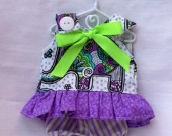 LillieGiggles Purple Elephant Dress for Brown Baby Rag Dolls