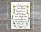 Wedding, Bridal Shower, Bridal Brunch Engagement Party Invitation, Summer Sunflowers, Digital Printable File OR Professionally Printed Cards