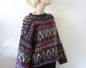 1980s Wool Sweater oversized cropped knit jumper by Benetton - fall & winter fashion