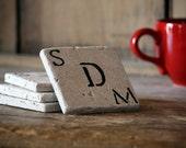 Personalized Coasters for Couple, Initials, Monogram - Set of 4 Marble Custom Gift for Engagement, Wedding, Housewarming, Custom Handmade