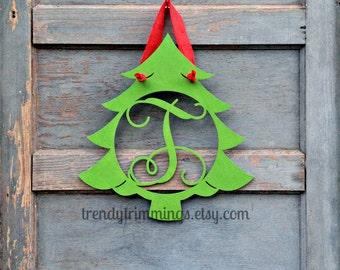 Christmas Tree Monogram- Holiday Trimmings™ Wooden Monogram Letter- Interlocking Script, Door Hanger Wreath- Christmas decor- unpainted