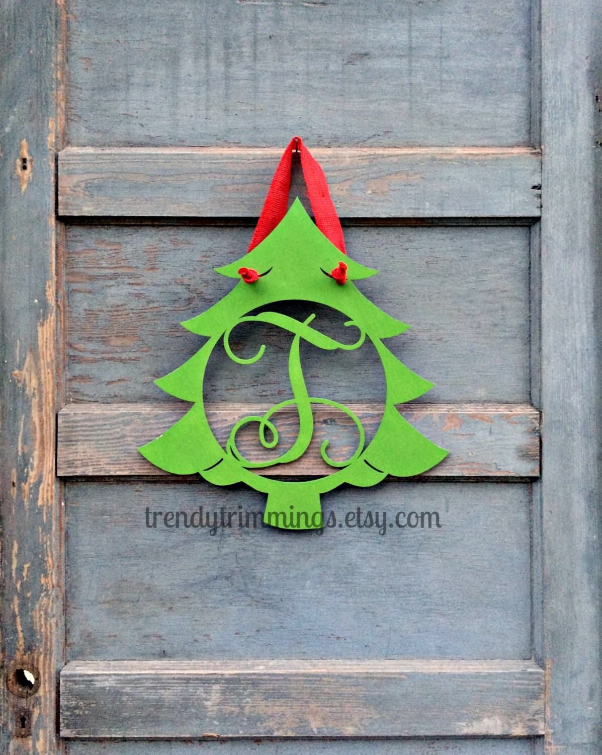 Christmas Tree Monogram- Holiday Trimmings™ Wooden Monogram Letter- Interlocking Script, Door Hanger Wreath- Christmas, winter holiday decor