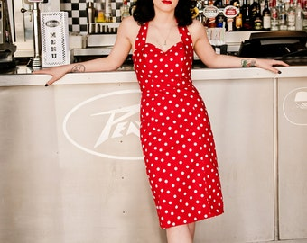 Red Polka Dot Fitted Wiggle Dress