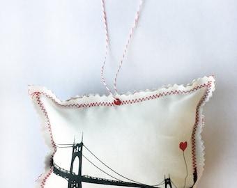 St. John's Bridge Portland Oregon Fabric Ornament