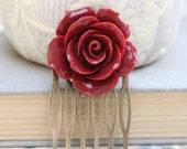 Big Rose Comb Flower Hair Comb Modern Bridal Floral Comb Wedding Hair Accessories Red Bridesmaids Gift Stocking Stuffer Christmas Fashion