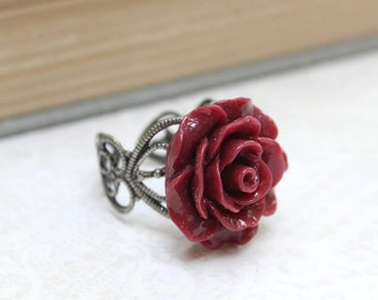 Deep Red Rose Ring Flower Cocktail Ring Antique Silver Lace Filigree Oxblood Wine Burgundy Dark Romance Gothic Jewellery Modern Romantic