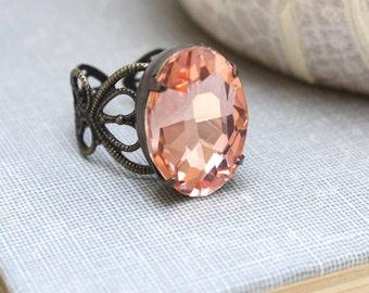 Peach Jewel Ring Big Glass Rhinestone Ring Cocktail Ring Modern Statement Jewelry Antique Brass Adjustable Filigree Bridesmaids Gift