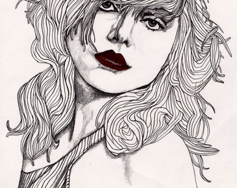 Debbie with Red Lips - Original Signed Paul Nelson-Esch Drawing Art pencil Illustration fashion debbie harry blondie punk pop 80s - Free S&H